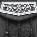 Black Leather Day Sporran with Weaving Chrome Flap