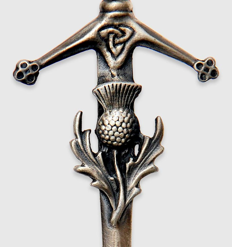 English Antique Celtic Shield Brooch Chester S/&Co Kilt Pin