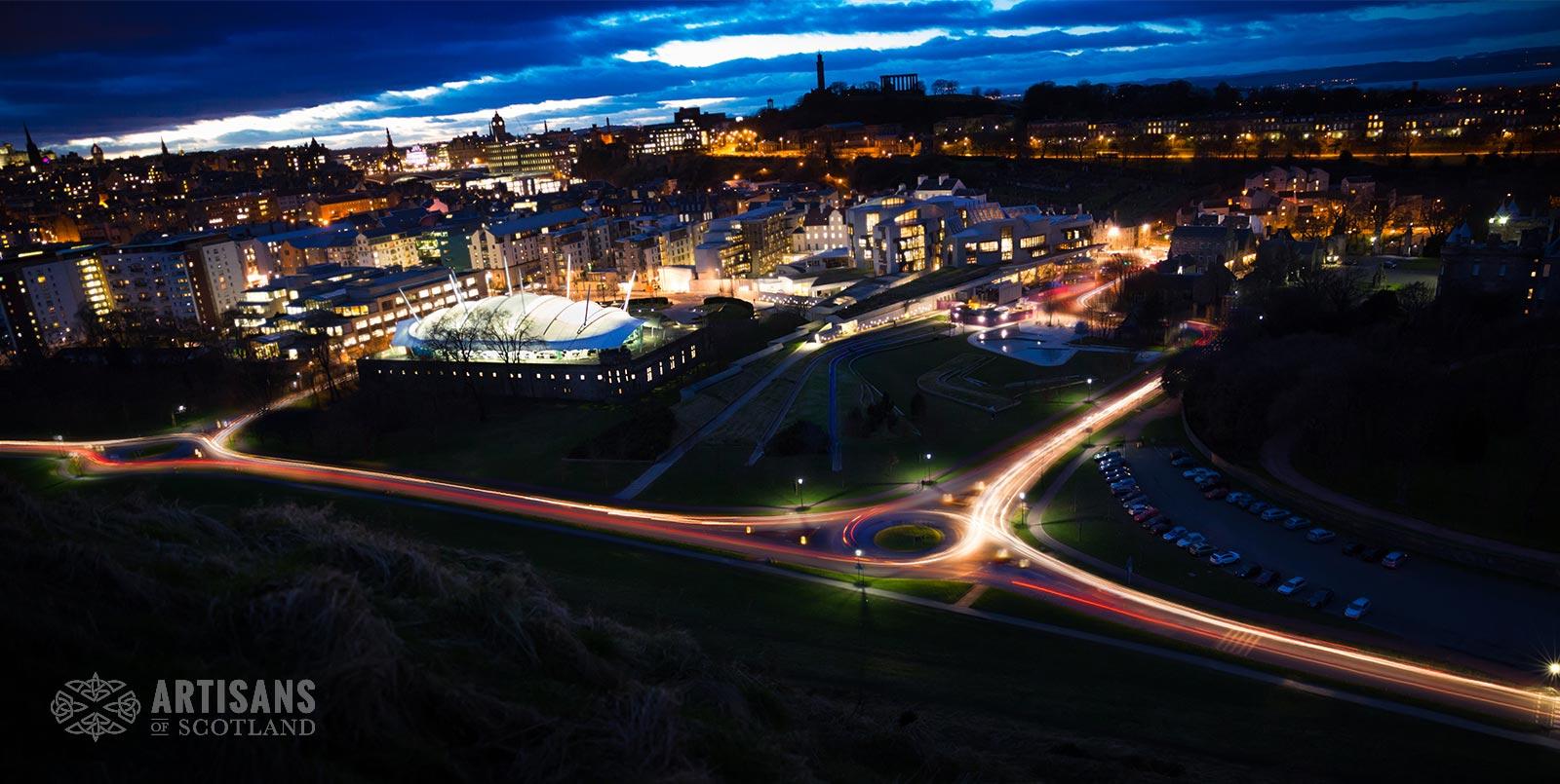Edinburgh Night Skyline - The most beautiful places in Scotland