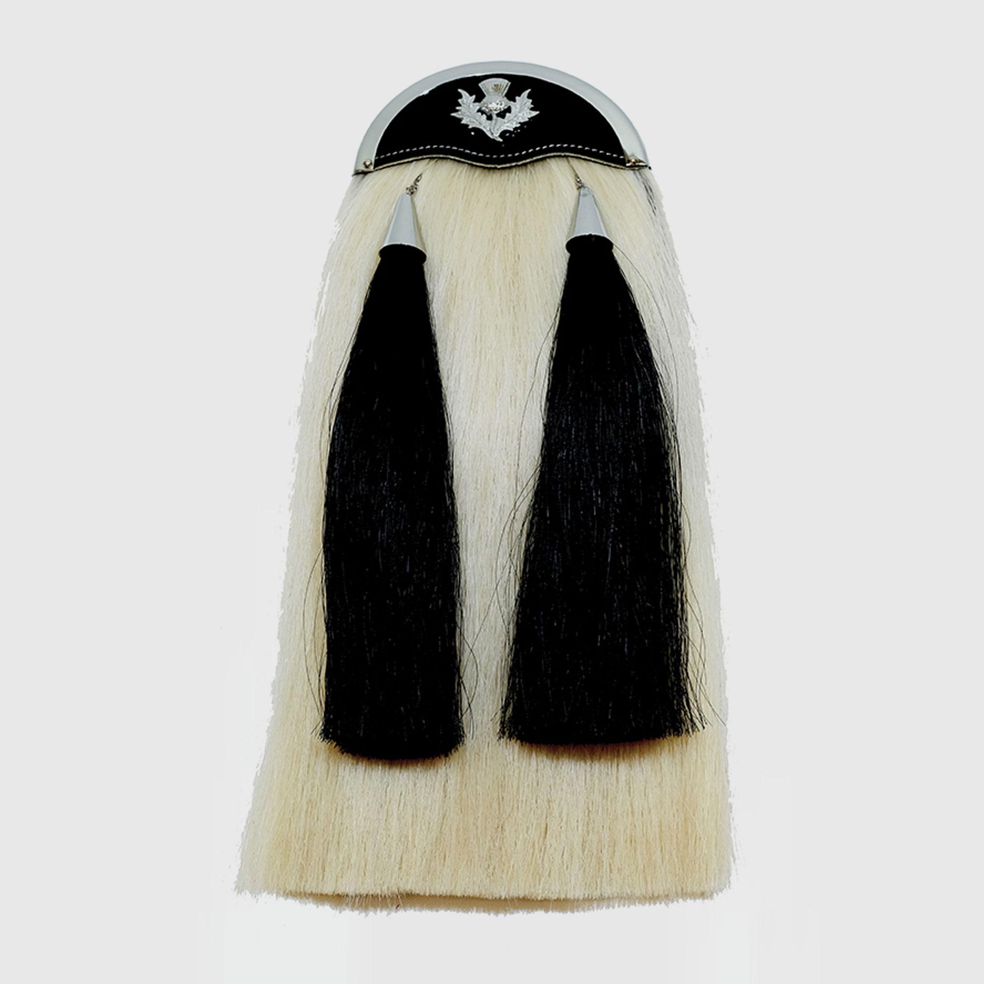 Scottish Kilt Sporran Horse Hair Black Thistle Cantle Chrome//Piper Kilt Sporrans