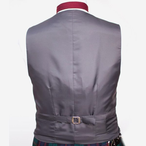 Charcoal tweed waistcoat. Made in Scotland from 100% pure new wool.